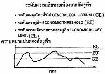 กราฟแสดงระดับความเสียหายเนื่องจากศัตรูพืช